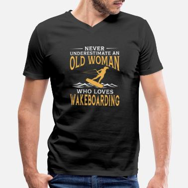 Wakeboard funny An Old Woman Who Loves Wakeboarding - Men's V-Neck T-Shirt