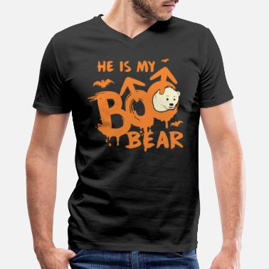Custom Bear Boo Bear Cute Teddy Bear Polar Bear Halloween Couples Dark - Men's V-Neck T-Shirt by Canvas