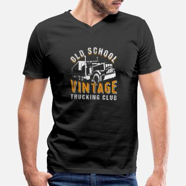 Old School Trucks Old School | Vintage Trucking Club - Men's V-Neck T-Shirt by Canvas