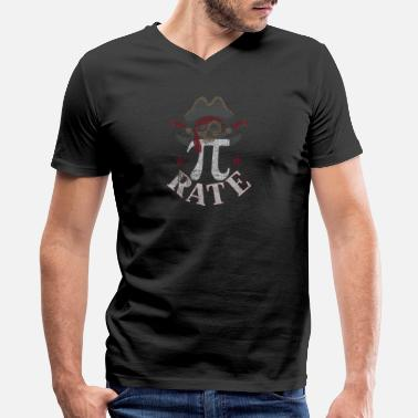 Geek Pi-rate Pi Rate March 14 Pirate 3.14 Distressed Pi-rate T- - Men's V-Neck T-Shirt by Canvas
