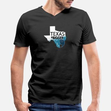 Everything Bigger In Texas Texas Is Bigger Than Harvey. Texas Hurricane White - Men's V-Neck T-Shirt by Canvas