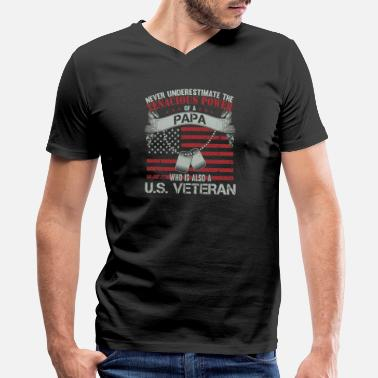 Papa who is also a US veteran- Never underestima - Men's V-Neck T-Shirt