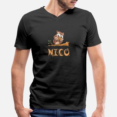 Nico Nico Owl - Men's V-Neck T-Shirt by Canvas