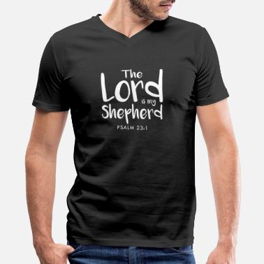 Good Shepherd Psalm 23:1 The Lord is my shepherd; I lack nothing - Men's V-Neck T-Shirt