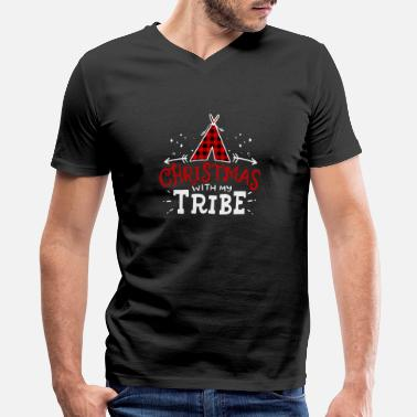 Tribe Christmas With My Tribe Buffalo Plaid Family Gift - Men's V-Neck T-Shirt