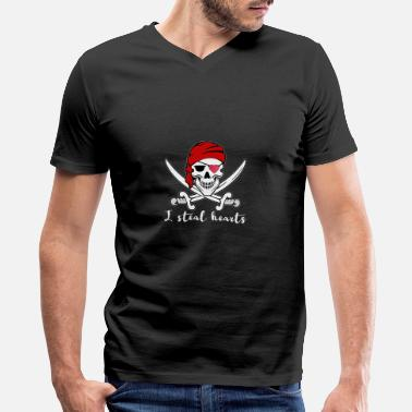 Steal I steal your Heart Pirate Valentine´s Day Shirt - Men's V-Neck T-Shirt