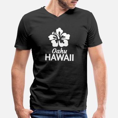 Motif Surfboard Hawaii - oahu, hawaii t with hawaiian hibiscus f - Men's V-Neck T-Shirt by Canvas