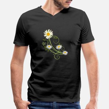Tendril Tendril with Marguerite and daisies - Men's V-Neck T-Shirt