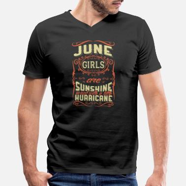 June Birthday Gemini June Girls are Sunshine Hurricane - Birthday - Men's V-Neck T-Shirt by Canvas
