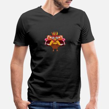 Animation Cute Football Cute Turkey Football Thanksgiving Design - Men's V-Neck T-Shirt by Canvas