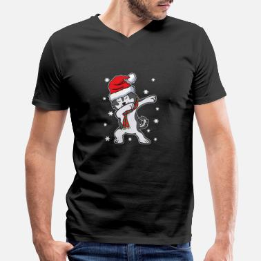 Dog Husky Dog Dabbing Xmas Christmas Present - Men's V-Neck T-Shirt