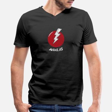 Niklas Funny Bolt Name Shirt Superhero Niklas - Men's V-Neck T-Shirt