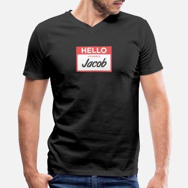 No Tags Funny Jacob | Funny Name Tag - Men's V-Neck T-Shirt by Canvas