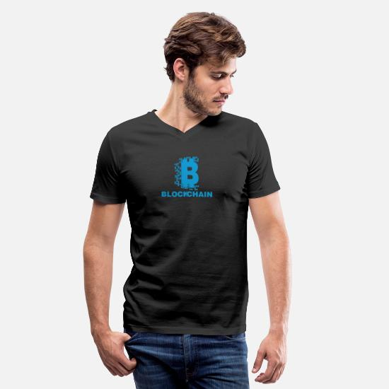 Cryptocurrency T-Shirts - Blockchain Cryptocurrency HODL Crypto Digital Coin - Men's V-Neck T-Shirt black