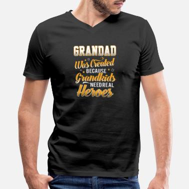 Crea Grandkids Need Real Heros Because Grandad Was Crea - Men's V-Neck T-Shirt by Canvas