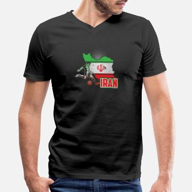 Iran Soccer Jersey Football Soccer Iran Flag - Men's V-Neck T-Shirt by Canvas