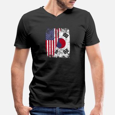 South Korean American Flag SOUTH KOREAN ROOTS | American Flag | SOUTH KOREA - Men's V-Neck T-Shirt by Canvas