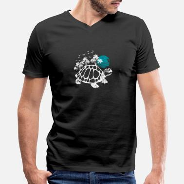 Fantasy Island Turtle with Island on back fantasy creature gift - Men's V-Neck T-Shirt by Canvas