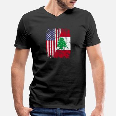 Half Lebanese Half American LEBANESE ROOTS | American Flag | LEBANON - Men's V-Neck T-Shirt by Canvas
