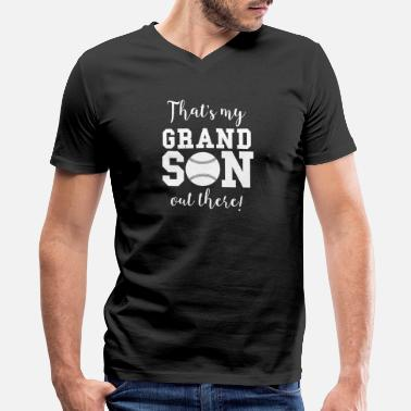 Outfield That's My Grandson Out There Baseball Grandparent - Men's V-Neck T-Shirt by Canvas