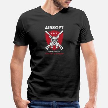 Leisure Time Airsoft Weak Weapon Gun Leisure Free Time - Men's V-Neck T-Shirt by Canvas
