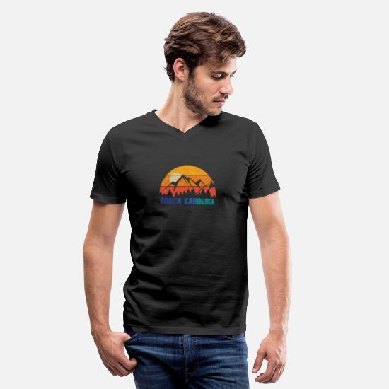 Durham T-Shirts - Retro Vintage North Carolina With Mountain Forest - Men's V-Neck T-Shirt black