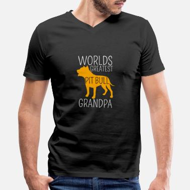 Bull Worlds Greatest Pit Bull Grandpa Shirt, Dog - Men's V-Neck T-Shirt