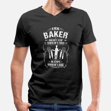 Baker Baker Bakery Baking Gift Present Tired Done - Men's V-Neck T-Shirt