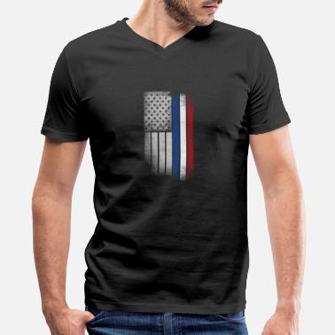 Dutch Flag Dutch American Flag - Men's V-Neck T-Shirt by Canvas