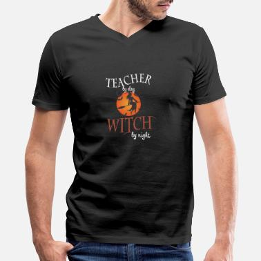 Night Of The Witches Teacher by day Witch by night - Men's V-Neck T-Shirt
