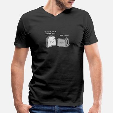 Toaster Jokes Funny Valentine's Day: Bread and Toaster Flirting - Men's V-Neck T-Shirt by Canvas