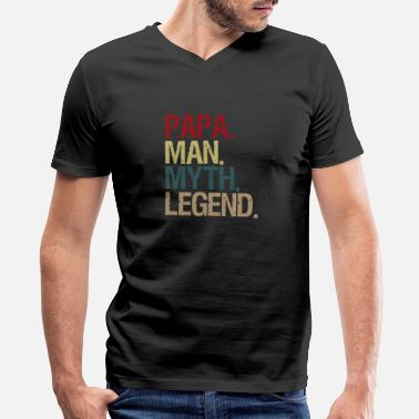 Dads Favorite Mens Papa Man Myth Legend Shirt For Mens Dad - Men's V-Neck T-Shirt by Canvas