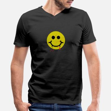 Fang-face Dracula Smiley Bloody Fangs - Men's V-Neck T-Shirt