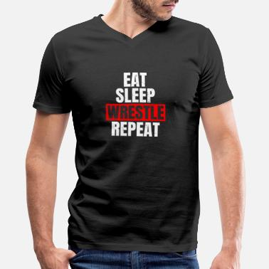 Karate Eat Sleep Wrestle Repeat - Men's V-Neck T-Shirt