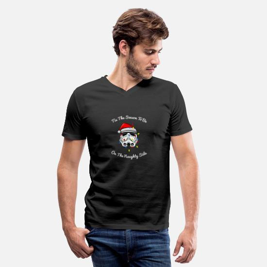 Darth T-Shirts - Trooper Tangled Naughty Side Christmas Shirt - Men's V-Neck T-Shirt black