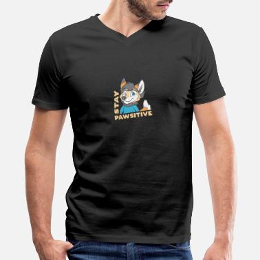 Fur Stay Pawsitive Furry Fandom Fursuiter Gift - Men's V-Neck T-Shirt
