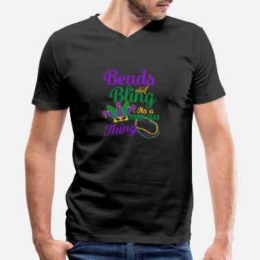 Jazz Beads and Bling It's a Mardi Gras Thing Nola New - Men's V-Neck T-Shirt