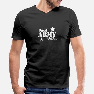 Proud Military Wife Proud Army Wife T Shirt Military Wife Protects Me - Men's V-Neck T-Shirt