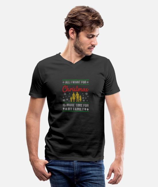 Love T-Shirts - Christmas time is family time - Men's V-Neck T-Shirt black