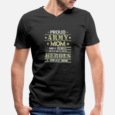 Proud Army Mom I Raised My Heroes Camouflage Graph - Men's V-Neck T-Shirt