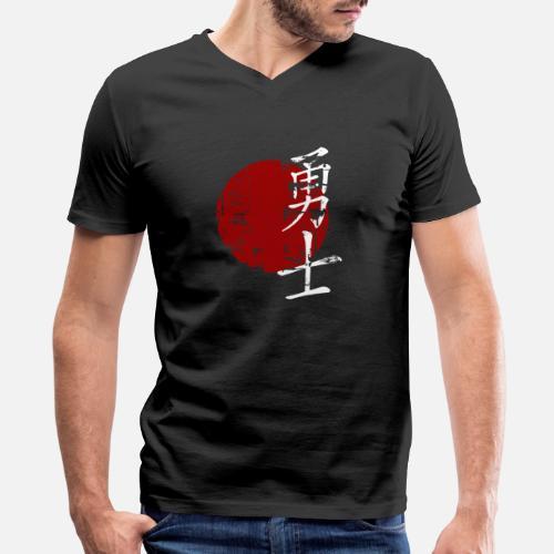 34bbf8d3 Warrior Martial Arts Symbol Japanese Chinese Kan Men's V-Neck T ...