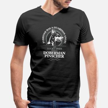 Guardian GUARDIAN ANGEL DOBERMAN PINSCHER - Men's V-Neck T-Shirt