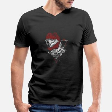 Red Dinosaur Red Trex - Men's V-Neck T-Shirt