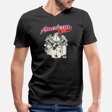 Motor V8 V8 Motor AMERICAN WAY light design - Men's V-Neck T-Shirt
