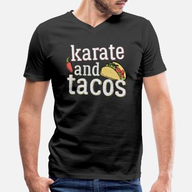 Karate Sportswear Funny Karate Design Tacos And Karate White Light - Men's V-Neck T-Shirt by Canvas