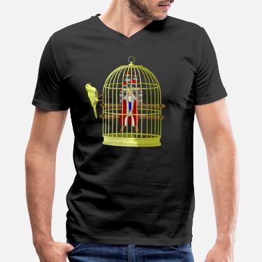 Cage CAGED KING - RULER IN A GOLDEN CAGE - Men's V-Neck T-Shirt