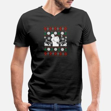 Ugly Christmas Golf Golf Ugly Christmas Sweater - Men's V-Neck T-Shirt by Canvas