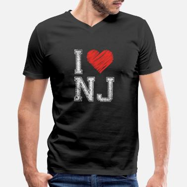 Nj Funny New Jersey - I Love NJ - US State Humor - Men's V-Neck T-Shirt by Canvas