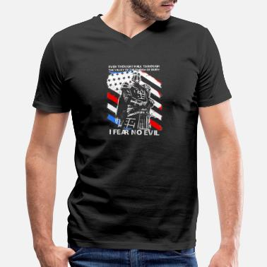 Fear American Cusader - I fear no evil t-shirt for american - Men's V-Neck T-Shirt by Canvas