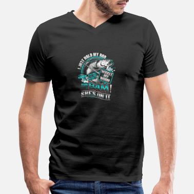 Fishing Graphics Fishing - Hold my rod, wiggle my worm and bam - Men's V-Neck T-Shirt